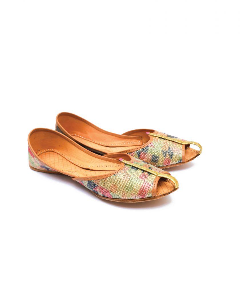 Brown Peep Toe Style Khussa